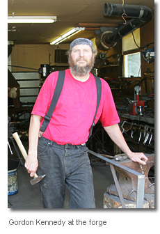 Iron artist Gordon Kennedy at the forge, Tarbot, Cape Breton Island