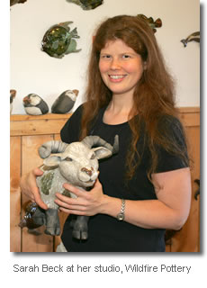 Sarah Beck at her studio, Wildfire Pottery, on the North Shore of St Ann's Bay, Cape Breton Island